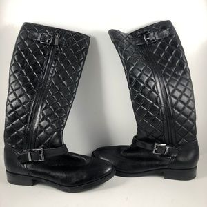 Vince Camuto 8.5 Black Boots Quilted Mid Calf Moto